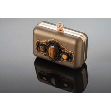 """Dabīgas ādas klačs """"GOLD"""" ar dabīgiem akmeņiem Nr. NK26"""